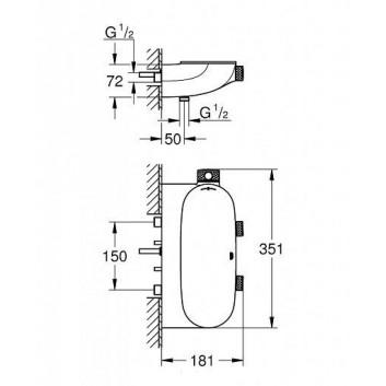 Baterie podomítková Grohe Grohtherm SmartControl termostatická 3-přijimače vody chrom- sanitbuy.pl