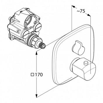 Baterie vanová-sprchová podomítková Kludi Ameo s dvěma kohouty termostatická, 2-přijimače chrom