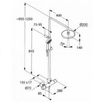 Sprchový set termostatický Kludi Dual Shower horní sprcha 20cm chrom