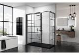 Stěna - Walk-in Novellini Kuadra H Black 90 cm, profil černá, sklo čiré, vzor čtvercová