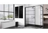 Stěna - Walk-in Novellini Kuadra H Black 140 cm, profil černá, sklo čiré, vzor pasy