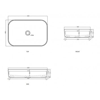 Umyvadlo Cielo Shui Comfort na postavení na desku, čtvercová, 40x40 cm, Polvere