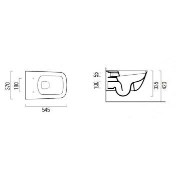 Mísa WC GSI Sand 55x37cm závěsná bez splachovacího okruhu se sedadlem s pozvolným sklápěním + souprava mocujący, bílá- sanitbuy.pl