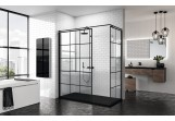 Stěna - Walk-in Novellini Kuadra H Black 120 cm, profil černá, sklo čiré, vzor čtvercová